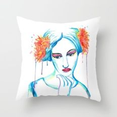 Watercolor drawing of a women daydreaming with flowers in her hair Throw Pillow