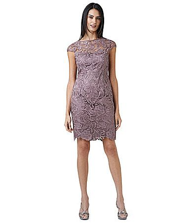 Bridesmaid adrianna papell scroll lace dress dillards for Adrianna papell wedding guest dresses