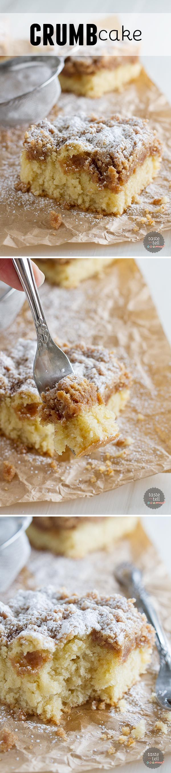 This Crumb Cake Recipe has a moist cake that is topped with a thick layer of crumb topping. This is the BEST crumb cake recipe!