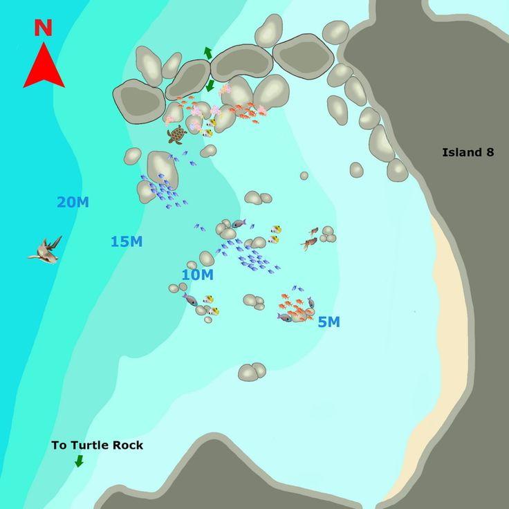 Similan Dive Guide : Donald duck dive map www.similandiveguide.com