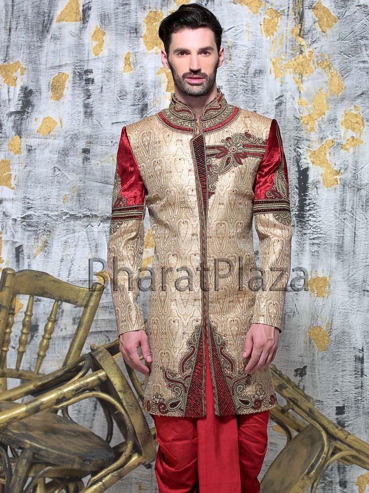 Dark beige color Jamawar fabric Indo Western Sherwani. Item Code: SIJ6465