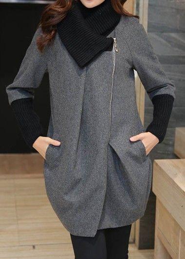Zipper Up Pocket Patchwork Long Sleeve Grey Coat.