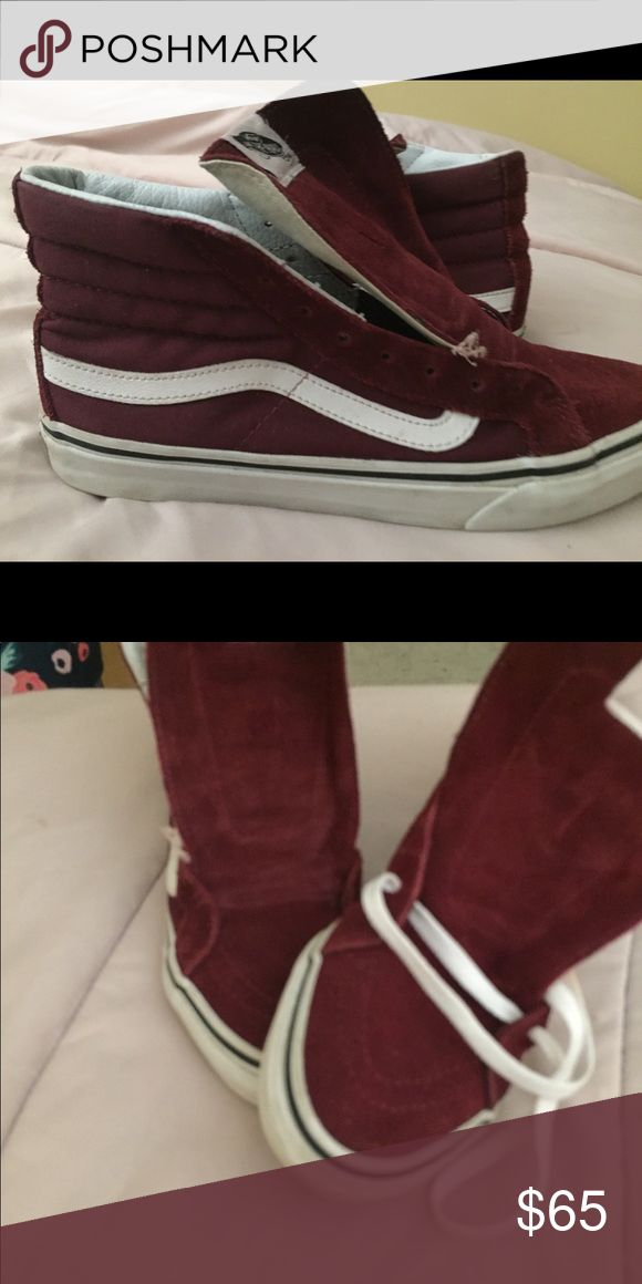Burgundy High Top Vans Good condition burgundy vans price negotiable!!! Vans Shoes Sneakers