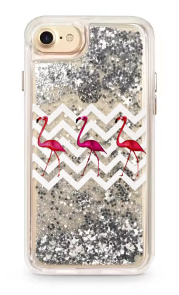 So cute! Floating glitter meets FLAMINGO SILVER CHEVRON phone case for all iphones 6 and 7 ! Also the plus sizes! Only on @casetify designed by Monika Strigel