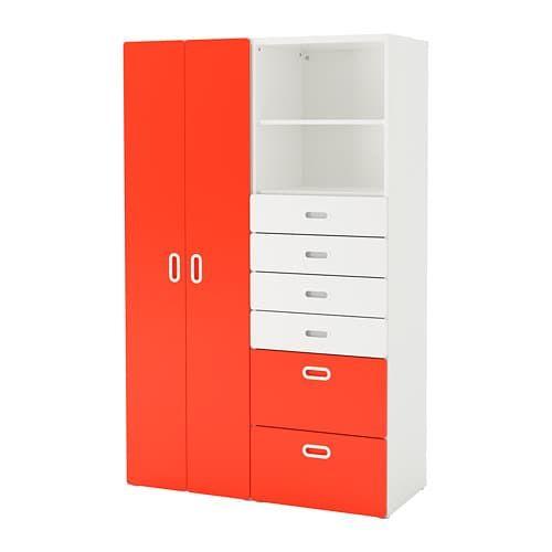 STUVA / FRITIDS Armoire, blanc, rouge blanc/rouge 120x50x192 cm ...