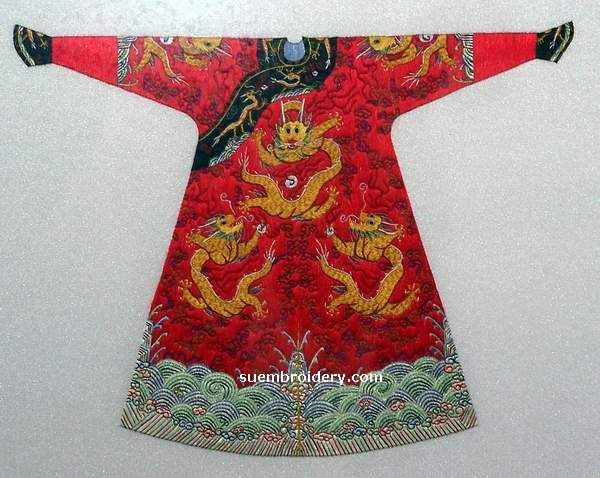 silk embroidery art, Chinese emperor's dragon robe, all hand embroidered