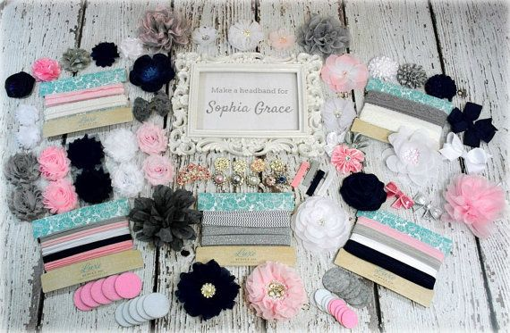 DIY Headband Making Kit - Navy, Pink, Grey and White Baby Shower Headband Station Kit - MAKES 35+ HEADBANDS and Hair Accessories!! on Etsy, $58.00