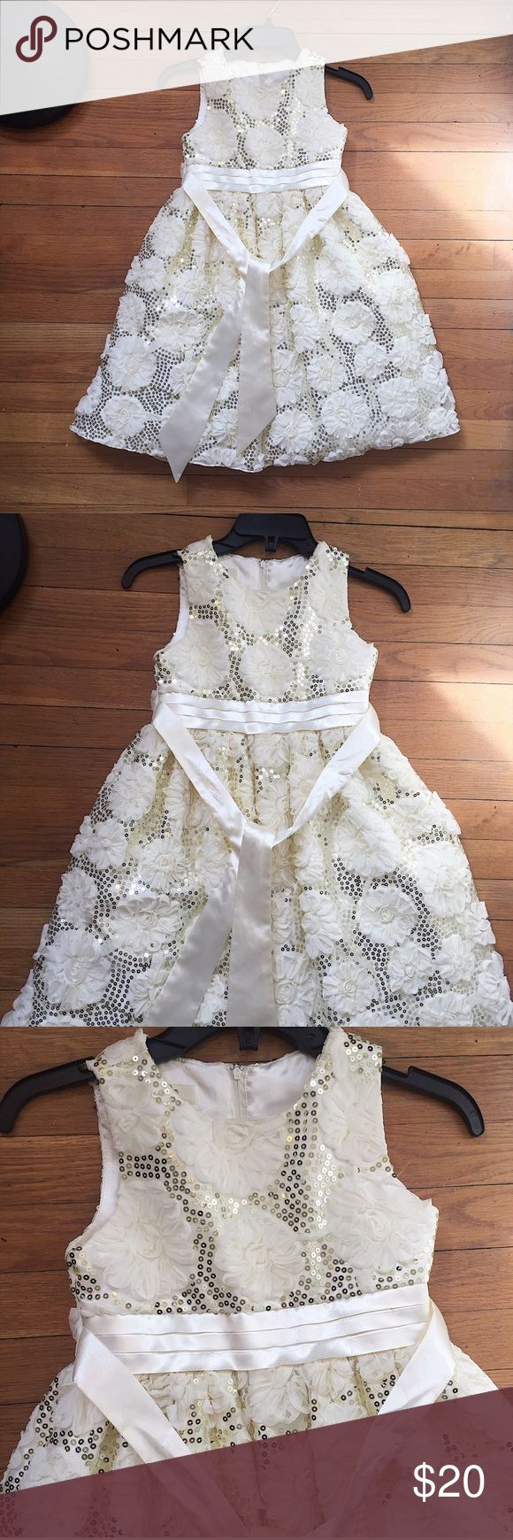 Girls American Princess Floral Sequin Dress Sz 8 Perfect for Easter, recitals, weddings or any special occasion.   American Princess party dress Girls size 8 Features tulle underneath, tie back, zipper closure, and gold sequins. Dress and zipper in perfect condition - no stains, blemishes or tears  📷 Please see all photos - we do out best to accurately capture condition, measurements & all blemishes in our photos 📷   🌼 Smoke/pet free home 🌼  🌸 All clothing is freshly laundered before…