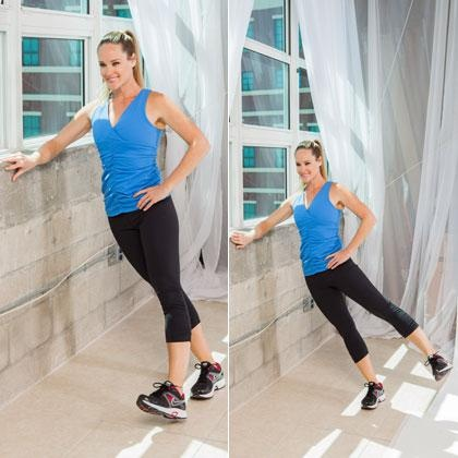 Outer-Thigh Toner Sets: 1 Reps: 15  Increase the angle of your body to the wall to create a greater challenge, says Tom Holland, M.S., C.S.C.S., author of Beat the Gym.  How to do it: Stand with your right side to the wall, approximately two feet out from the wall with feet together; bend your right arm and place your forearm on the wall for support. Keep your body straight (do not allow your hips to sag towards the wall). Bring your left leg slightly in front of your right foot and slowly…