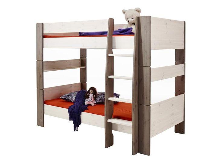 etagenbett mit rollrost und gerader leiter white wash stone steens for kids - Einfache Hausgemachte Etagenbetten