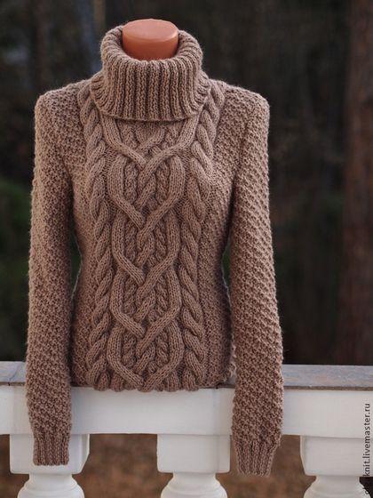 Теплый и объемный светло-шоколадный свитер - коричневый,свитер женский