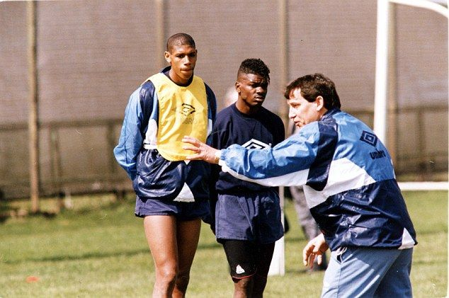 England manager Graham Taylor, pictured here with two of his selections, Tony Daley and Carlton Palmer