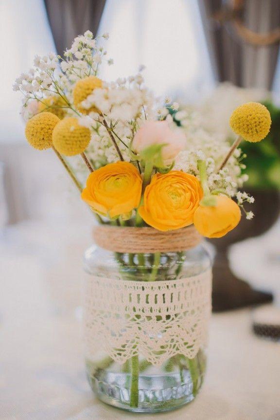 rustic wedding ideas-billy balls baby's breath and ranunculus in mason jar wedding centerpiece