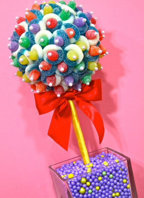 Rainbow candy land centerpiece topiary tree buffet