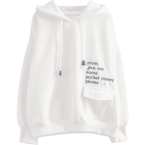 Drawstring Flap Pocket Letter Embroidered Hoodie White ($30) ❤ liked on Polyvore featuring tops and hoodies