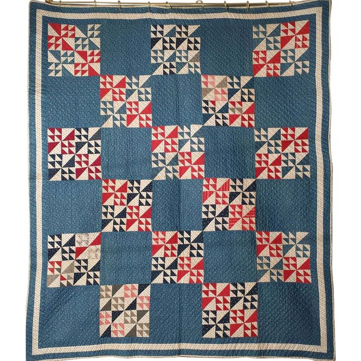 Antique Handmade Quilt in Mint Condition Circa 1890 Swallow's Flight