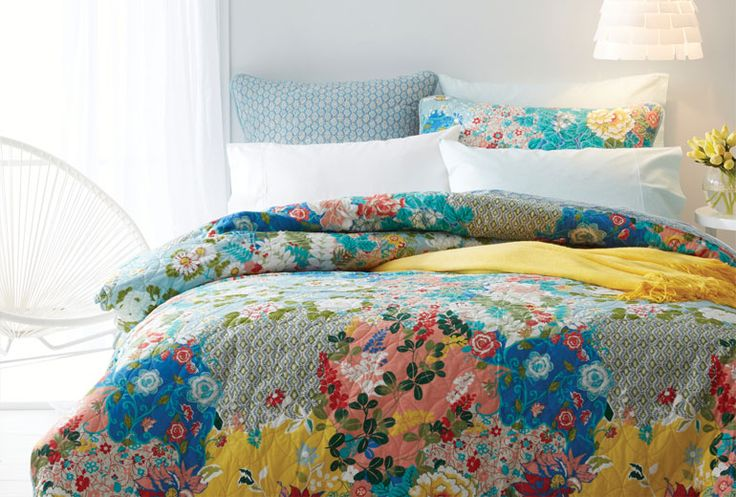 Welcome spring with Tulienne bed linen: an eclectic combination of loose patchwork floral and geometric detailing #bedbathntable #bedroom