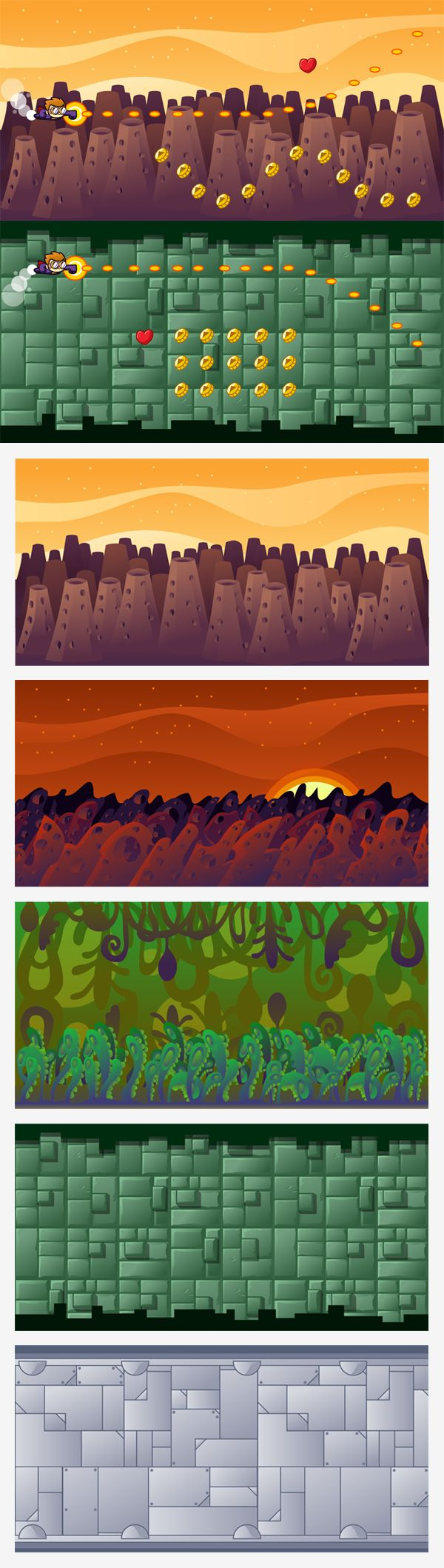 Side scrolling backgrounds for your projects. You can find  it here http://goo.gl/vtuynG