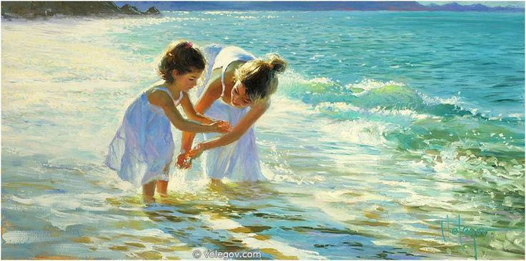 PLAYING WITH WATER (2011) . Oil on Canvas by Vladimir Volegov. Location: Private Collection.