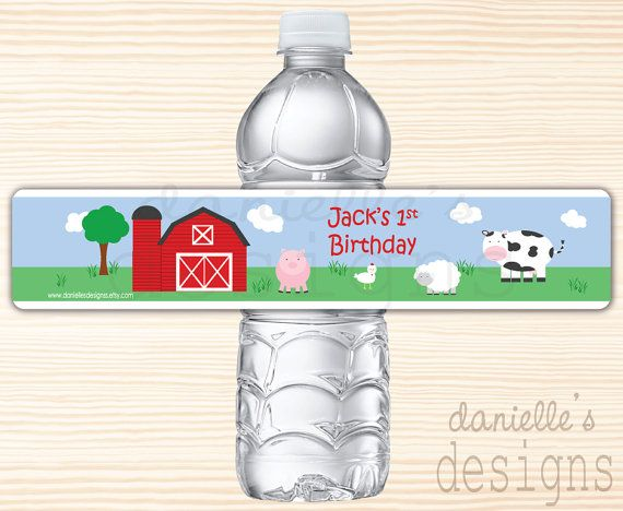 Personalized Birthday Water Bottle Labels by DaniellesDesignss
