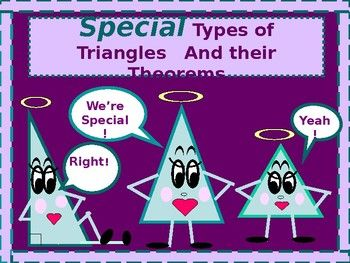 In the lesson that follows, students engage in the use of the properties of isosceles, equilateral, and right triangles! The lesson includes some of the basic terminology used when referencing the various types of triangles, and will include important angle/side relationships to be aware of while
