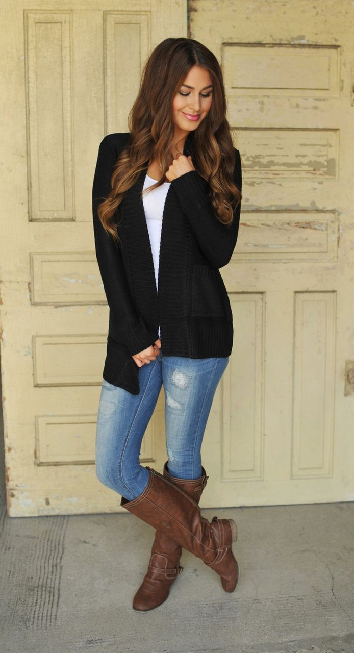 The 25  best Black cardigan outfit ideas on Pinterest | Black ...