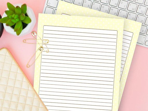 Lined Journal Page Printable, Dotted Stationery Set of 2, Writing - blank writing sheet