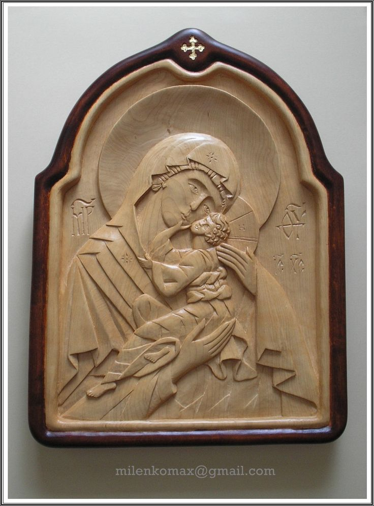 Bogorodica-duborez-wood carving icon-Mother of God-Theotokos