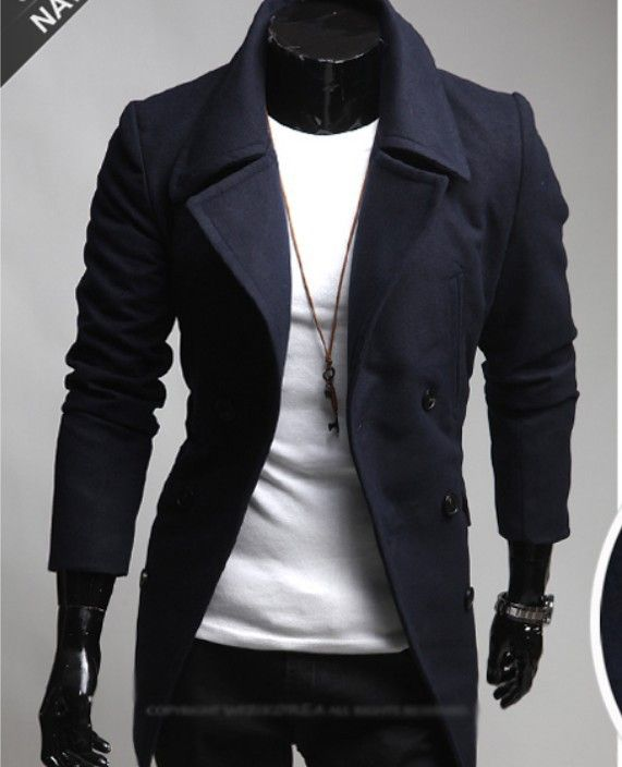 Stylish False-open Design Long Coat Dust Coat Topcoat For Men/18479 via AmaSell. Click on the image to see more!