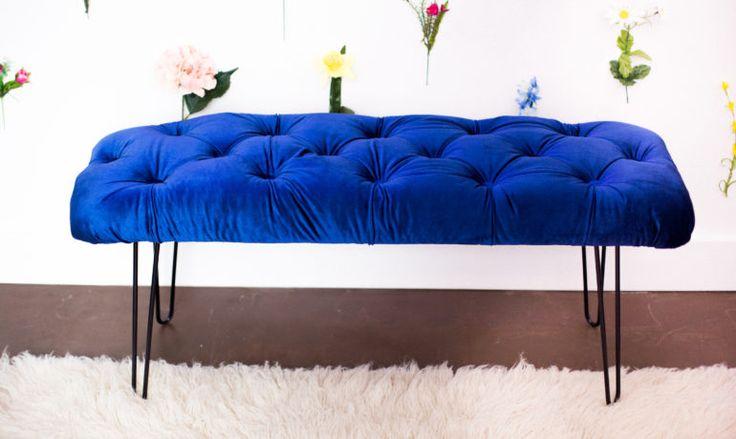 Summer Project!! DIY Tufted Velvet Bench