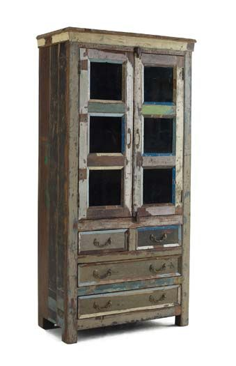 Rustic Glass Panel Wood Cabinet Western Cabinets And Buffets   Vintage  Reclaimed Solid Wood Planks Are