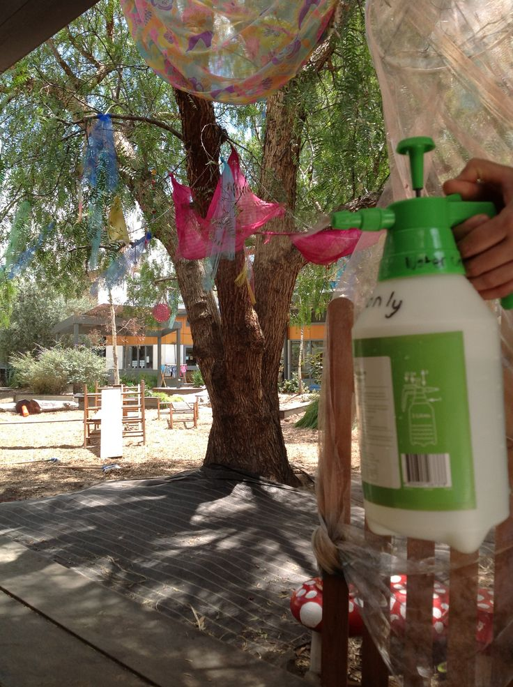 We are using a pressure sprayer to keep ourselves cool in the yard today. It creates a large fine mist for children to play under and uses way less water than traditional sprinklers. (2 litres lasted us about 15 minutes of non stop spraying!) you can buy them at Coles for about $8. - Gowrie Victoria
