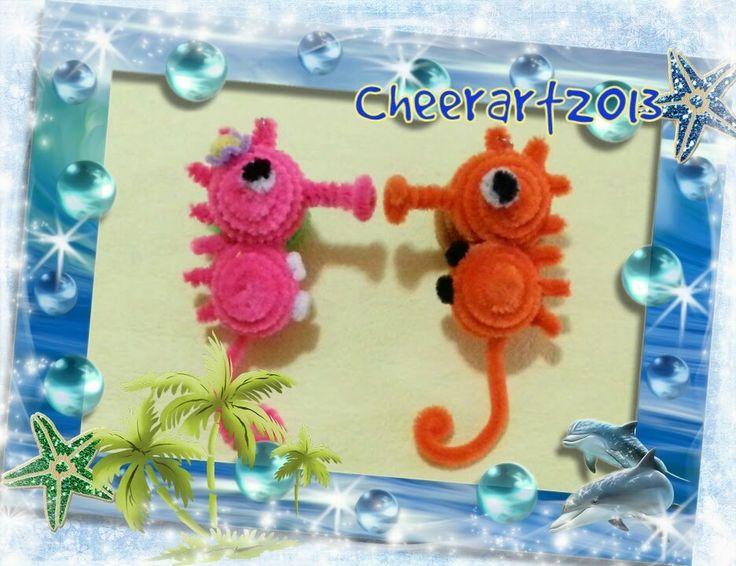DIY fun craft tutorial pipe cleaner seahorse手工教學:毛根海馬