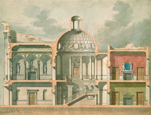 Design for York House, Pall Mall, London, showing the proposed interior decoration by Sir William Chambers