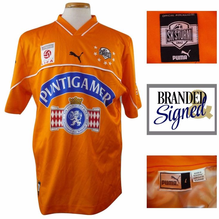 Soccer Jersey SK Sturm Graz Austria Orange Puma Large Authentic Futbol Football  #puma #skSturm