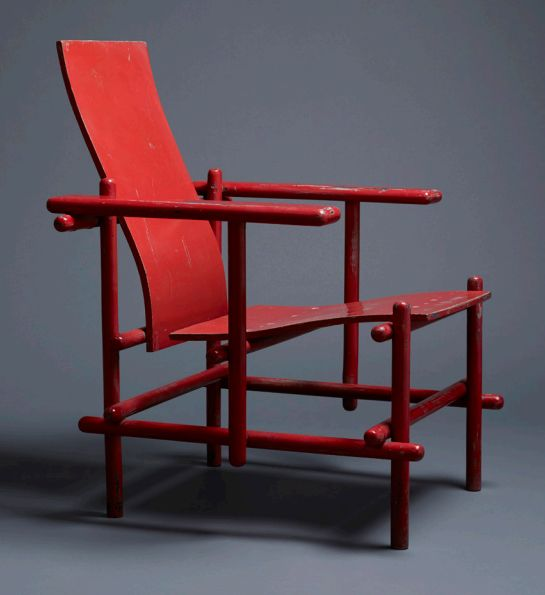 Gerrit Rietveld . red billet armchair, 1924