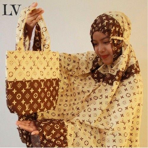 Mukena Cantik LV Cream, Mukena Katun Jepang - Muslim Online Shop | Yukbisnis