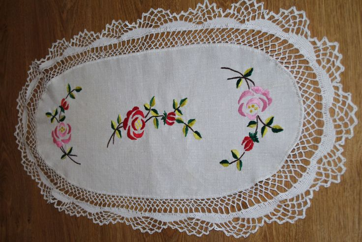 Beige hand embroidered linen table runner Oval Polish floral multicolour Flowers Roses Embroidery Serape Hand made flowery dresser scarf by VintagePolkaShop on Etsy