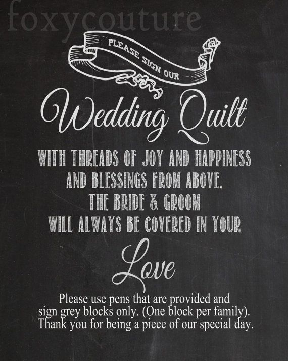 Please Sign Our Wedding Quilt on a Faux by FoxyCoutureDesigns