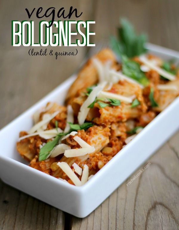 """Vegan Bolognese with Lentils and Quinoa - On RachelCooks.com! Sounds wonderful! Description... """"A healthy, filling vegan version of the popular bolognese sauce using lentils and quinoa for a meaty texture. Even my meat-loving husband loved this pasta with vegan bolognese! """""""