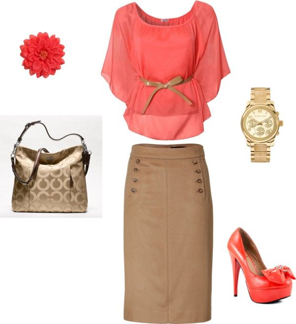 "Love the skirt.  ""Coral and Tan"" so cute! Minus the shoes"
