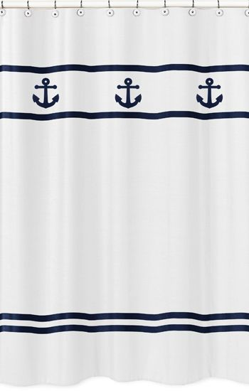 This Anchors Away shower curtain is the perfect addition to your nautical theme bathroom by #SweetJojoDesigns