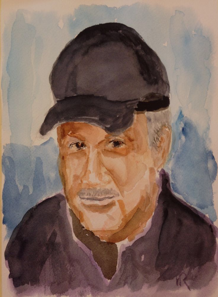 """This is """"Portrait,"""" watercolor painting on 9""""x12"""" Arches cp paper (c) 2016 Wes Rehberg"""