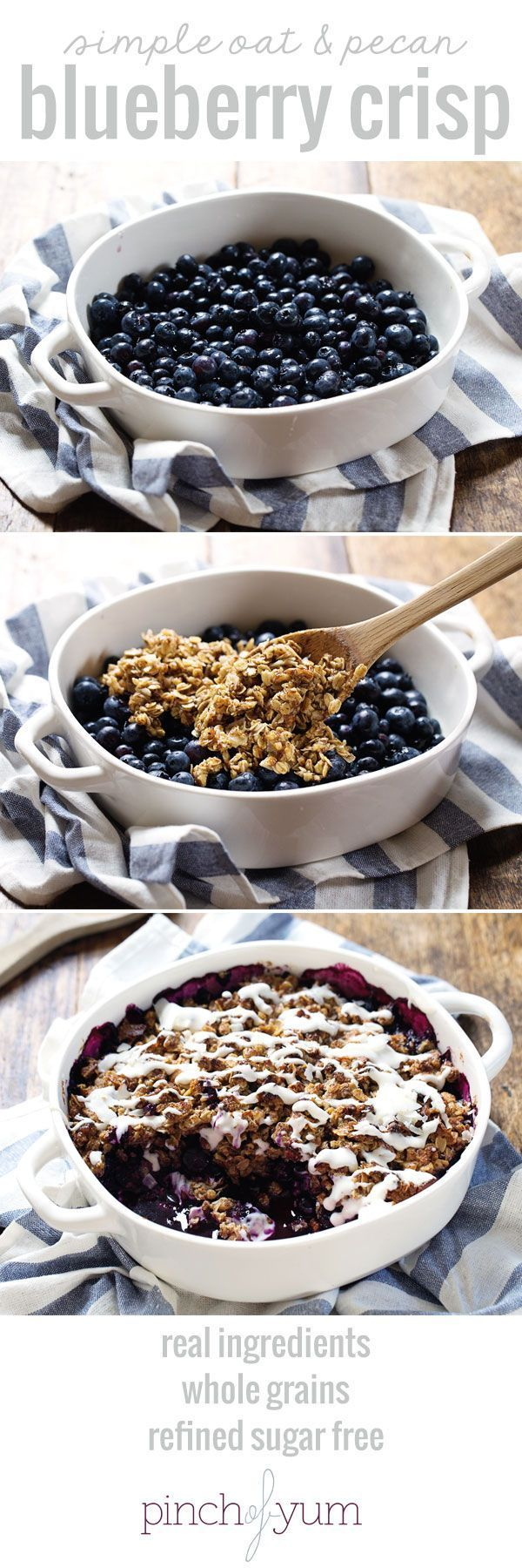 Simple Oat and Blueberry Crisp - warm, juicy blueberries covered with a yummy oat crumble and topped with a coconut drizzle. Refined sugar free and whole grain! | pinchofyum.com #blueberry #crisp #recipe #fruit #dessert