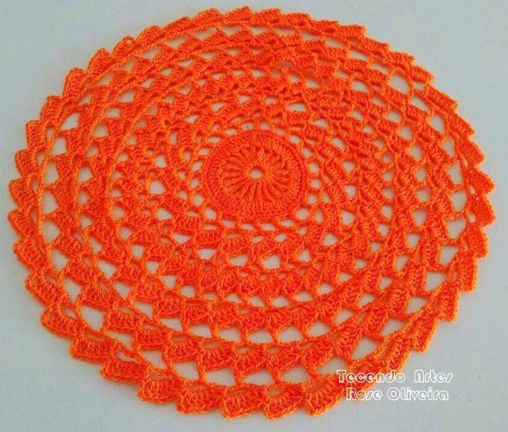 Tecendo Artes em Crochet: Sousplat Laranja - Novo Modelo!
