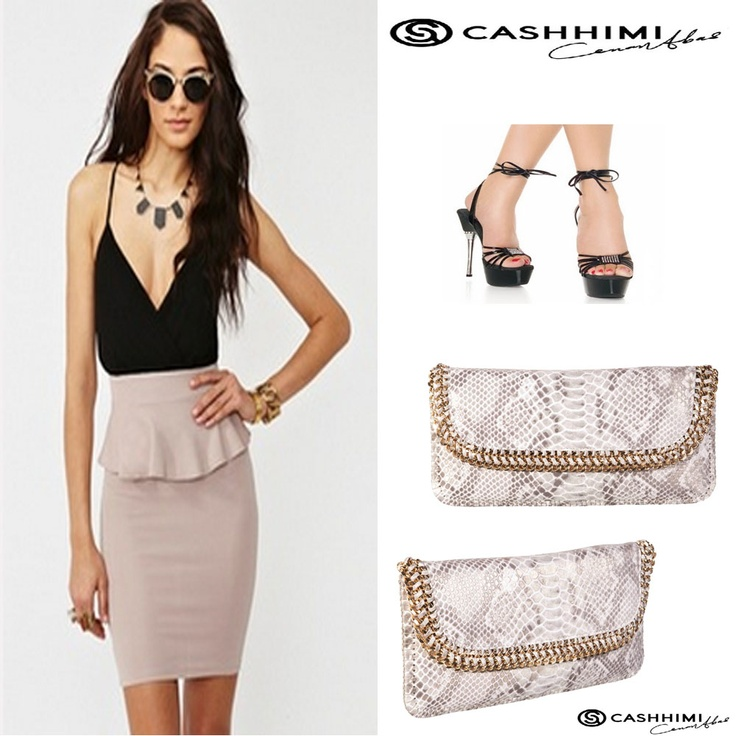 Cashhimi BROADWAY White Leather Clutch