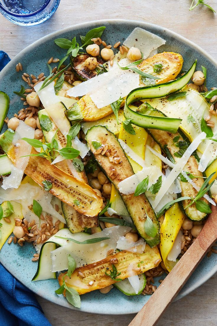 Marinated Zucchini With Farro Chickpeas And Parmesan Recipe Recipe Recipes Nyt Cooking Zucchini
