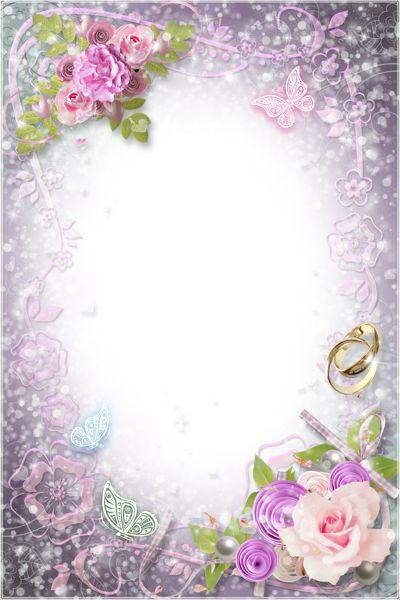 Transparent Flowers Wedding Frame.