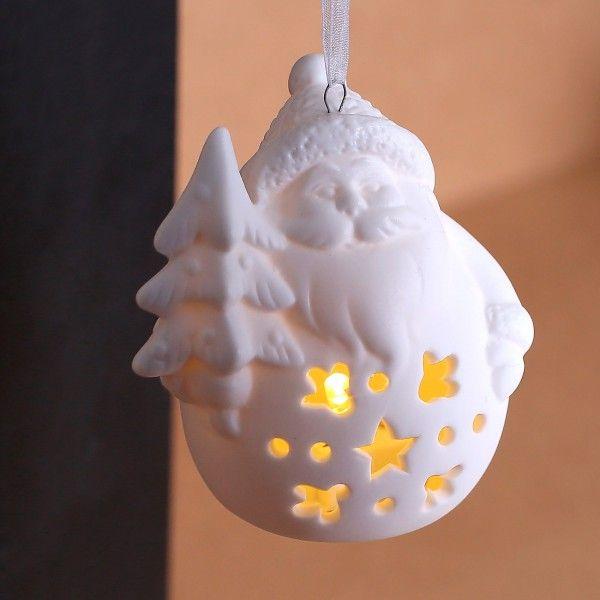 Keramik Weihnachtsfigur mit LED Weihnachtsmann mit Tannenbaum