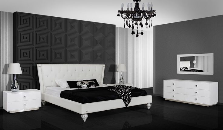 Monica Transitional White Leather Bed - Modern Bedroom - Bedroom